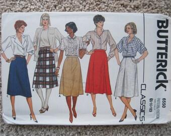 UNCUT Misses Skirt - Butterick Pattern 6587 - Vintage 1980's