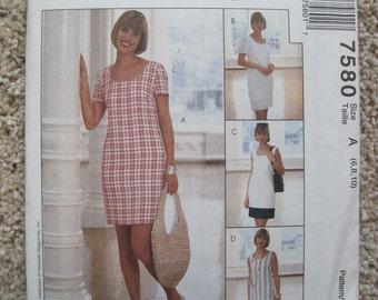 UNCUT Misses Dress - Size 6 to 10 - McCalls Pattern 7580 - Vintage 1995