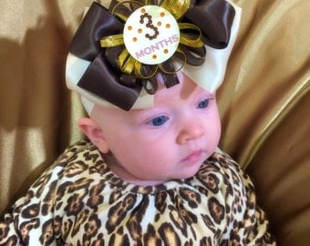 Milestone headband, swarovski headband, satin headband, newborn headband, baby gift, large bow headband, baby headband, brown headband