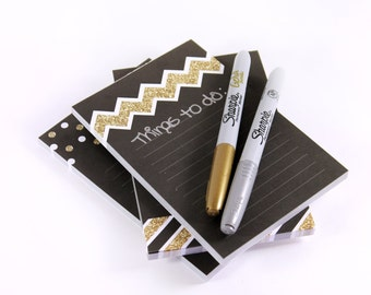 Set of 3 Black and Gold Glitter 4x6 notepads - Chevron, Polka Dots, and Striped Designs