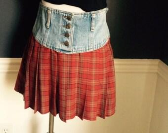 Vintage Mini Plaid & Jean School Girl Skirt | Size 5/6