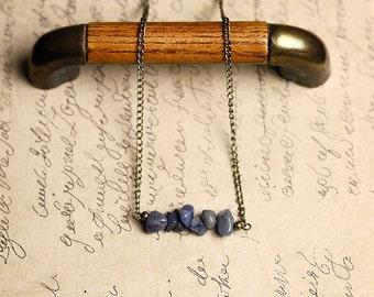 Blue Gemstone Necklace, Bohemian Stone Necklace, Simple Boho Necklace, Minimalist Bar Necklace, Stone Bar Necklace, Blue Aventurine Necklace