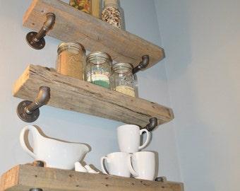 Reclaimed Barn Wood Kitchen Shelves