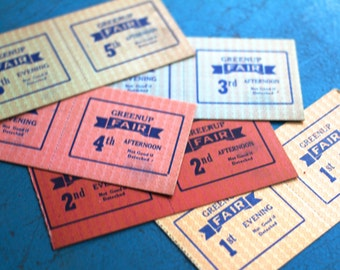 10 Vintage Fair Tickets 1960s Kentucky Greenup Fair Ride Farm Paper Gift Tag Epherema Scrapbooking
