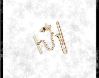 Gold Trombone Tie Tack