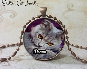 "Dream Kitten Necklace - 1-1/4"" Round Pendant or Key Ring - Handcrafted Wearable Shelter Cats Photo Art Jewelry, Gift for Cat Lover"