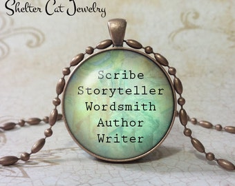 """Writer/Wordsmith Necklace - 1-1/4"""" Circle Pendant or Key Ring - Handmade Wearable Photo Art Jewelry - Gift for Scribe, Writer, Novelist"""