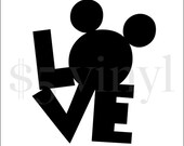 Mickey Mouse Love Vinyl, XS-SMALL Car Decal, Wall Art, Sticker, Window Decal, Mickey Mouse, Mickey, Disney, Disney Babies
