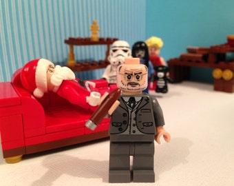 Sigmund Freud & Couch Keychain Psychology Psychiatrist LEGO Minifigure Custom Keyring