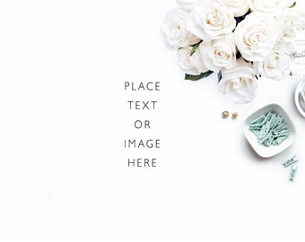 Website Banner   White and Mint Desk Accessories   Styled photography