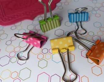 Binder clips - multi coloured. Cute 19mm mini foldback clips. Set of 5. Great for getting organised in 2016!