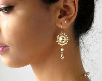 Drop earrings wedding, Pearl and crystal earrings, Dangle pearl earrings, Pearl bridal earrings, Crystal drop earrings, Bridesmaid earrings