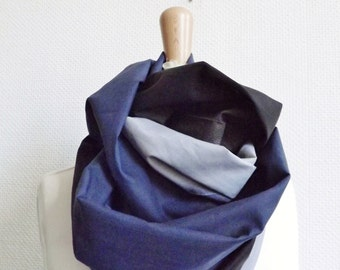 100% MADE IN FRANCE - Infinity Scarf, grey black and grey, French fabric, woman , man, tube scarf, gift, christmas, designer, breastfeeding