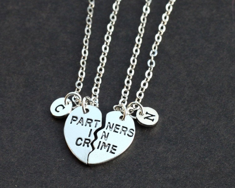 partners in crime necklace initials friendship necklace set