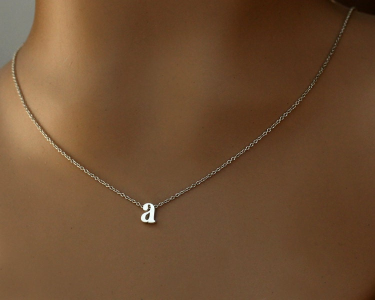 Initial necklace lowercase letter personalized silver plated for Lowercase letter necklace