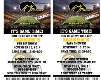 Printable Iowa Hawkeyes College Football Birthday Party Invitation NCAA Ticket Invitation Baby Shower Invitations