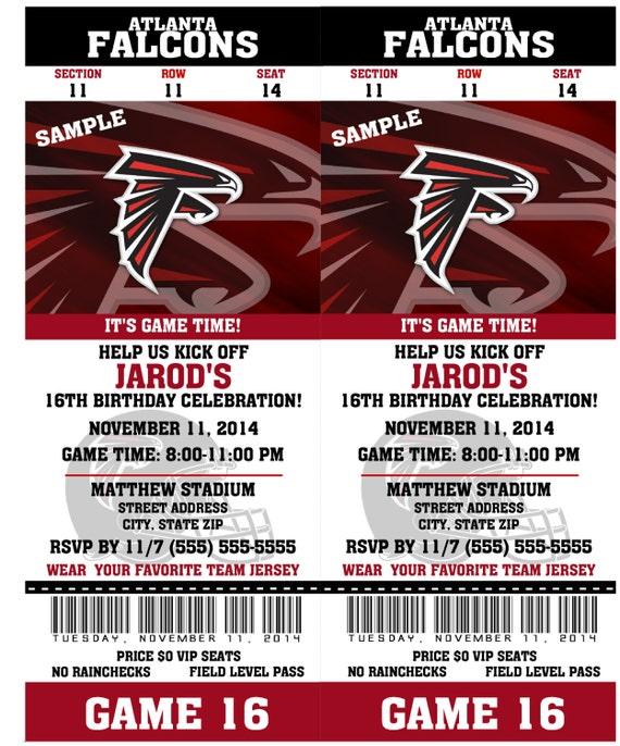 Printable Birthday Party Invitation Card Atlanta Falcons