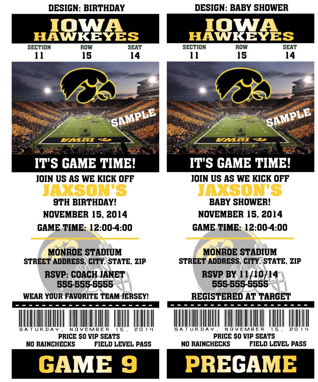 Printable Iowa Hawkeyes College Football Birthday Party
