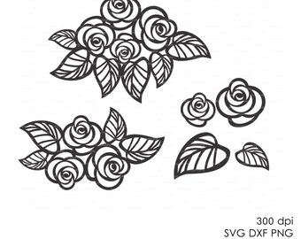 Flowers and leaves (eps, svg, dxf, ai)  Vector Digital ClipArt Wall Decor Decal Vinyl Cutting File Silhouette Cameo EasyCutPrintPD