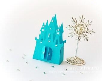 SVG DXF PNG Princess Frozen Castle box template baby girl party Cutting digital Cinderella Silhouette Cameo Cricut cutter EasyCutPrintPD