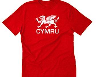 Cymru T-shirt Welsh Wales Red Dragon Y Ddraig Goch Tee Shirt