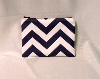 Navy Chevron Zipper Pouch