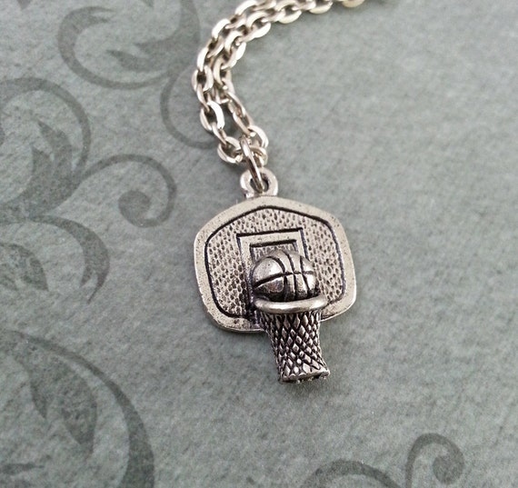 basketball hoop necklace basketball jewelry silver