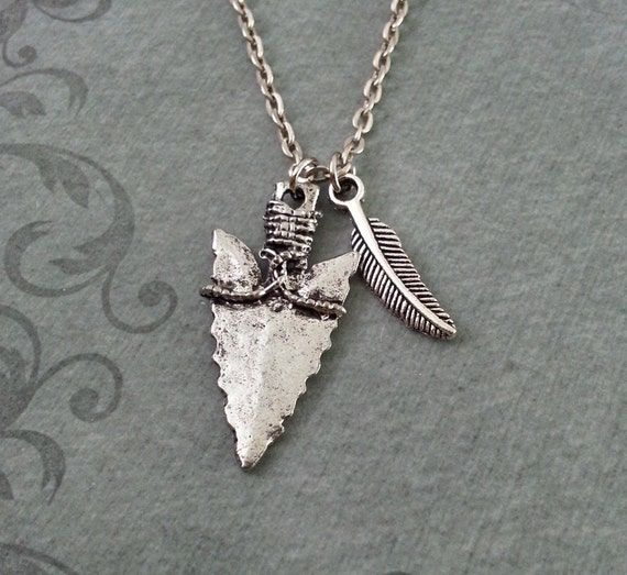 Arrowhead necklace feather necklace hunting jewelry like this item aloadofball Images
