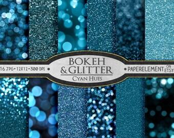 Blue Glitter Paper: Blue Glitter Digital Paper, Blue Sparkle Digital Paper, Blue Bokeh Digital Paper, Blue Glitter Background, Sparkle Paper