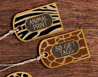 Printable Gift Tags: Digital Animal Print Gift Tags, Animal Print Tags, Printable Animal Digital Gift Tags, Cute Printable Gift Labels