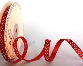 Red 9mm Grosgrain Ribbon with White Polka Dot Print by Bertie's Bows x 1mtr