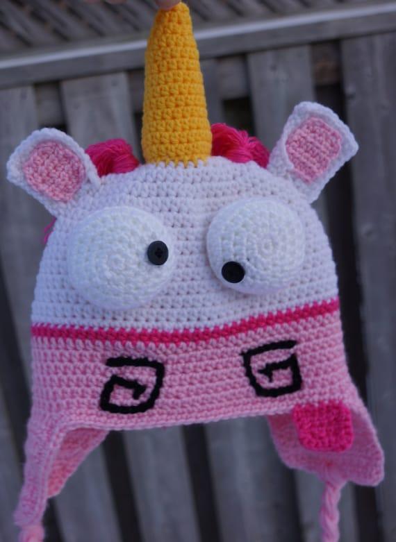 Crochet Unicorn hat, despicable me unicorn hat, fluffy unicorn hat ...