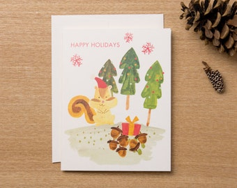 Set of 4 - Christmas Holiday Greeting Card  - Animal Lover Chipmunk