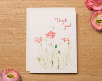Set of 4 - Thank You Card - Floral Watercolour