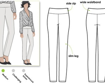 Julie Stretch Woven Pant - Sizes 22, 24 & 26