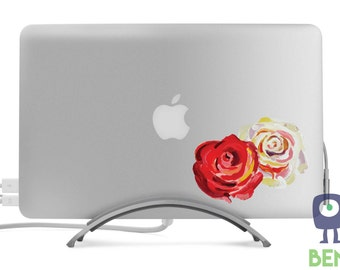 Red and White Watercolor Roses Flower Decal - Artistic Full Color Painted Style - Fits MacBooks, Laptops, or Cars - For Indoor or Outdoor