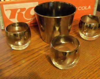 Vitreon Queen's Lusterware Silver Ombre Roly Poly glasses with Ice Bucket Dorothy Thrope Style Mad Men Barware