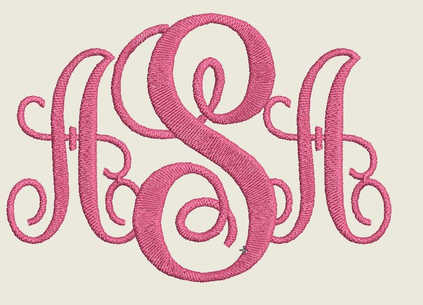 Monogram Embroidery Design 3 Letters Monogram Monogram