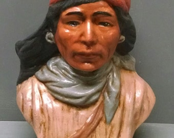 SALE!!!Indian Scout--Native American Indian Figurine--Heirloom Quality--Hand-painted Ceramic--Home Decor--Native American Art