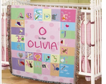 Baby's Personalized Alphabet Tapestry Throw Blanket (Boy & Girl Design)