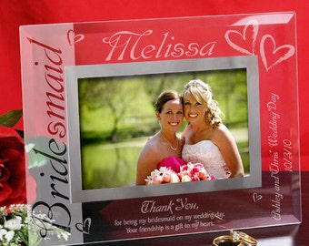 Bridesmaid Glass Picture Frame - 2 sizes, Bridesmaid Thank You Frame