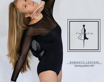 Ballet open back wave mesh dance Romantic Leotard PDF download sewing pattern PIN'N'SPIN
