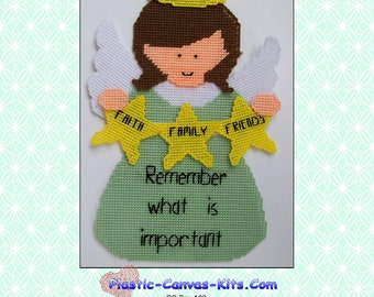 Important Things Angel Wall Hanging-Plastic Canvas Pattern-PDF Download