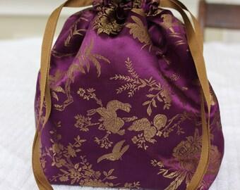 Small Knitting/Crochet Project Drawstring Bag - Purple Flowers and Birds Brocade