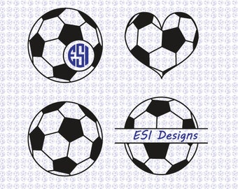 Soccer ball Football monogram designs. SVG, DXF, EPS files. Silhouette Studio for commercial use. Heart, Circle monogram, Split monogram,