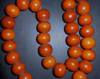 Amber 40 Bead Necklace Deep Carmel Color African Ethnic Jewelry