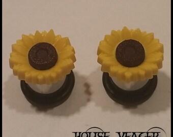 "Simple Sunflower Plugs - 6ga (4mm) - 1/2"" (12mm)"