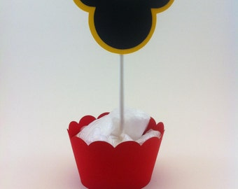 Mickey Mouse Cupcake Toppers and Wrappers - party supplies - cake decorations
