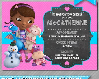 Doc McStuffins Invitation - PERSONALIZED - Appointment - Doc McStuffins Birthday Featuring Lambie, Stuffy, Hallie, Chilly