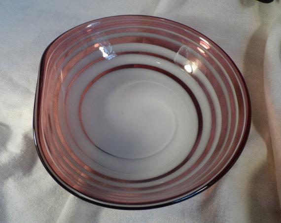 Murano Italy Purple Glass Biomorphic Bowl with White Swirls-Glass Bowl-Purple and White Swirled  Art Glass Bowl
